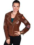 [Scully Ladies Ladies Vintage Patch Motorcycle Boar Suede Jacket]