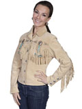 [Scully Ladies Ladies Fringe and Beaded Boar Suede Jacket]