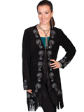 [Scully  Ladies Long Fringe Embroidered Coat]