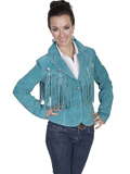 [Scully Ladies Ladies Boar Suede Fringe and Concho Jacket]