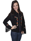 [Scully Ladies Ladies Embroidered Fringe Boar Suede Jacket]