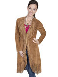 [Scully  Ladies Fringe Boar Suede Maxi Jacket]