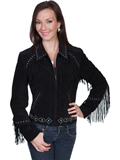 [Scully Ladies Ladies Boar Suede Studded Fringe Jacket]
