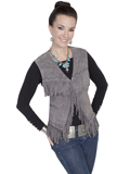 [Scully Ladies Ladies Boar Suede Embroidered Fringe Vest]