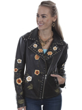 [Scully  Ladies Lamb Leather Floral Embroidered Studded Jacket]