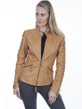 [Scully Ladies Lamb Leather Laced Sleeve Jacket]