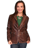 [Scully Ladies Ladies Studded Trim Leather Jacket]