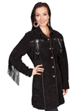 [Scully  Ladies Boar Suede Beaded and Fringe Coat]