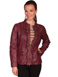 [Scully Ladies Ladies Ruffle Trim Hand Finished Lamb Leather Jacket]