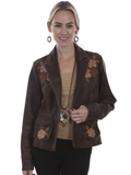 [Scully Ladies Floral Embroidered Lamb Blazer]