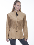 [Scully Ladies Ladies Fringe Toggle Front Boar Suede Jacket]