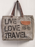 [Mona B. Live Love Travel Canvas Weekender Bag]