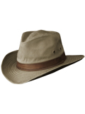 [Dorfman Pacific Men's Outback Washed Twill Faux Leather Hat]