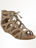 [Minnetonka Women's Merida III Gladiator Lace-Up Wedge Sandal]