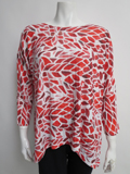[Nally and Millie� Women's Red and White Print Tunic]