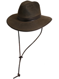 [Dorfman Pacific Men's Oil Cloth Safari Hat with Leather Trim]