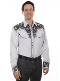 [Scully Mens Men's Floral Tooled Embroidery Shirt]
