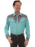 [Scully Mens Men's Colorful Tooled Shirt]