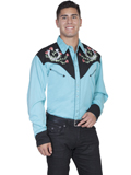 [Scully Mens Horseshoe and Rose Embroidery Shirt]