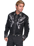 [Scully Mens Men's Floral Embroidered Shirt]