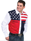 [Scully Mens Men's Red, White and Blue Color Block Patriot Shirt]