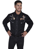[Scully Mens Legends Guitar Playing Skeleton Embroidered Shirt]