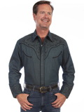 [Scully Mens Men's Scroll Embroidery Shirt]