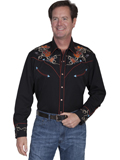 [Scully Mens Legends Boots, Hats and Guitars Embroidered Shirt]