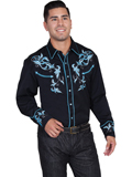 [Scully Mens Men's Legends Two Tone Leaf Embroidery Shirt]