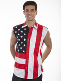 [Scully Mens Men's Patriot Sleeveless Flag Shirt]