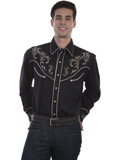 [Scully Mens Legends Floral Scroll Embroidered Shirt]