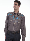 [Scully Mens Legends Abstract Embroidered Shirt]