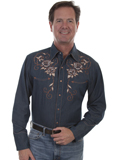 [Scully Mens Legends Longhorn Skull and Roses Embroidered Shirt]