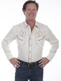 [Scully Mens Legends Horseshoes and Roses Embroidered Shirt]