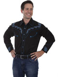 [Scully Mens Legends Embroidered Paisley and Stud Shirt]