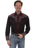 [Scully Mens Legends Red Roses Embroidered Shirt]