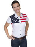 [Scully Ladies Patriot Capsleeve Color Block Blouse ]