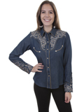 [Scully Ladies Legends Two-Tone Scroll Embroidered Shirt]