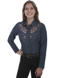 [Scully Ladies Longhorn Skull and Roses Embroidered Shirt]