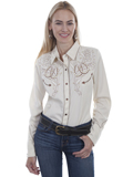 [Scully Ladies Roses and Horseshoes Embroidered Shirt]