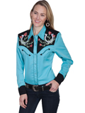 [Scully Ladies Horseshoe and Roses Vintage Western Blouse]