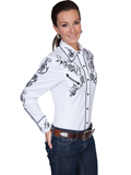 [Scully Ladies Ponderosa Women's Embroidered Roses Retro Western Cowboy Shirt]