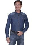 [Scully Scully Men's Signature Series Denim Tan Stitching Cotton Shirt]