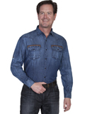 [Scully Scully Men's Signature Series Contrast Military Cuff Denim Cotton Shirt]