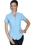 [Cantina by Scully Scully Cantina Cap Sleeve Blouse with Band Collar]