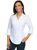 [Scully Ladies - Scully Cantina Collection Embroidered Cotton Three-Quarter Sleeve Blouse]