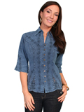 [Scully Ladies  - Scully Cantina 3/4 Sleeve Blouse with Crochet Vent]