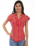 [Scully Ladies - Scully Cantina Collection Embroidered Cap Sleeve Cotton Blouse]