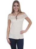 [Cantina by Scully Crochet Off Shoulder Cotton Blouse]