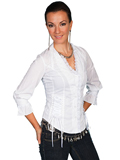 [Scully Ladies Women's Cotton Lace-Up Blouse]